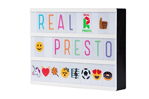 Real Presto Kino-Lichtbox / Leuchttafel, A4, mit 255bunten/schwarzen Buchstaben, Emojis, Symbolen, USB, kreieren Sie Ihre individuelle Nachricht, perfekt für Schlafzimmer, Partys oder als Nachtlicht, energieeffiziente LEDs (Tank Buchstaben)