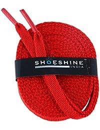 Shoeshine India red sport shoe lace flat shoelace (Set of 2 Pairs) Size S-120cm & 7mm W