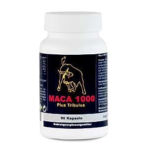 Maca 1000 plus Tribulus, Maca und Tribulus ideal kombiniert in einem Produkt, 90 Kapseln in Premiumqualität, Hochdosiert, 1er Pack (1x 74g)