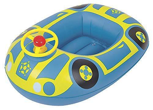 Excellentas Kinder Gummiboot Kinderboot Schlauchboot Schwimmhilfe Schwimmring Babysitz mit Lenkrad und Hupe für Baby und Kleinkind Schwimmbad in Blau