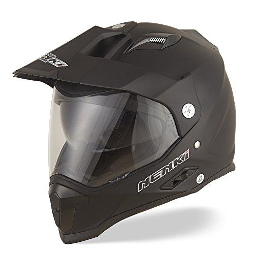 NENKI Motorradhelm Endurohelm Crosshelm mit Visier und Sonnenblende NK-313 für Quad ATV Adventure,ECE-geprüft (Mattschwarz, L)