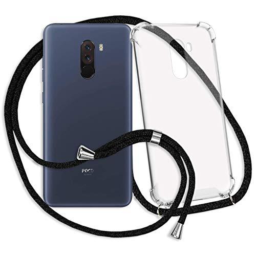 mtb more energy® Handykette für Xiaomi Pocophone F1 (6.18'') | schwarz | Smartphone Hülle zum Umhängen | Anti Shock Strong TPU Case