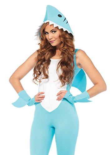 Leg Avenue 85604 Landshark, 3 teiliges Kostüm Haifisch, Karneval Overall mit Armstulpen figurbetont hellblau (S) (Fisch Kostüm Hunde Für)