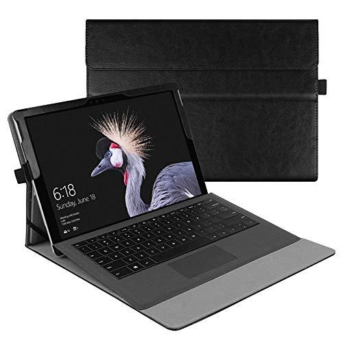 Fintie Hülle für Microsoft Surface Pro 6 (2018) / Pro 5 (2017) / Pro 4 / Pro 3 - Multi-Sichtwinkel Hochwertige Tasche Schutzhülle aus Kunstleder, Type Cover kompatibel, Schwarz