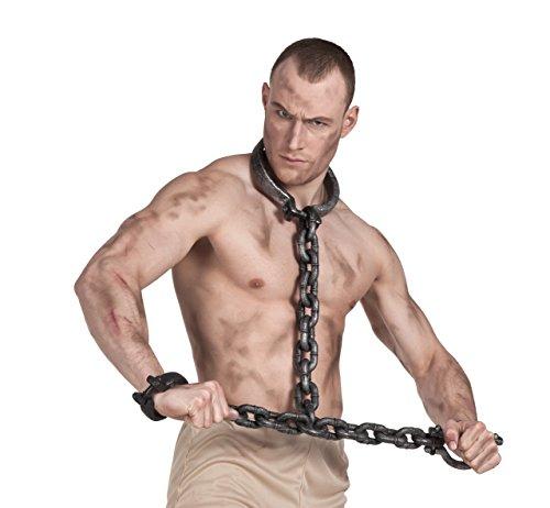Gefängnis Kostüm Sträfling - Boland 00614 - Gefangenenfesseln für Hände und Hals, ca. 100 cm