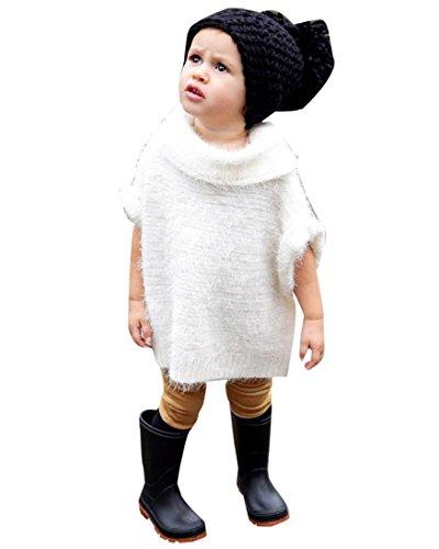 OverDose Herbst Winter Kinder Baby Mädchen Fest Outwear Hiebärmel Bluse Tops Oberteil Mantel Jacke Warmen Kleidung(36 Monate,A-Weiß) (Bluse Langer Seide Rock)