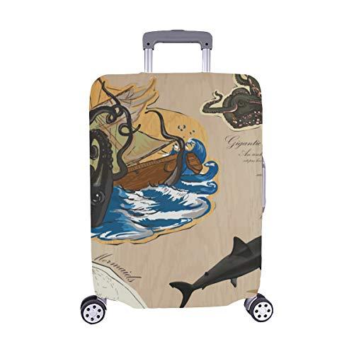 Pirate Fantasy Island Karte Muster Spandex Trolley Reisegepäck Protector Kofferüberzug 28,5 X 20,5 Zoll (Kunst Monster Sea)