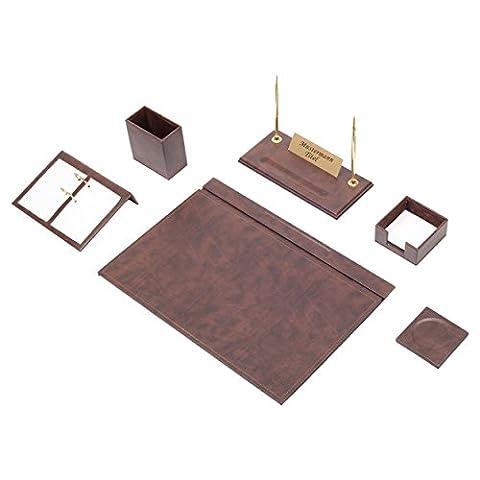 Bowa 8 teilige Leder Büro Schreibtisch Set mit individuelles Namensschild in Braun