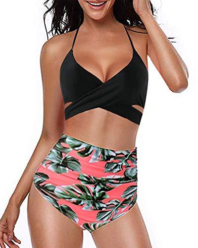 Kidsform Damen Bikini Set Hoher Taille Bademode Zweiteilige Badeanzug mit Volant Neckholder Bikini Retro Oberteil und Bikinihose Schwarz/Floral EU 40/Etikettgröße L -