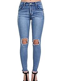 PILOT® ourlet effiloché déchiré genou ouvert jeans skinny