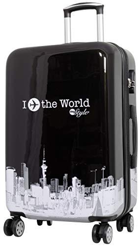Trendyshop365 Hartschalen City-Koffer mit Motiv Bedruckt - Fly The World Schwarz - 68 Zentimeter 69 Liter 4 Rollen Flugzeug Städtedesign