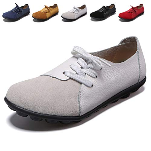 Hishoes Damen Mokassin Bootsschuhe Leder Loafers Fahren Flache Schuhe Halbschuhe Slippers Erbsenschuhe, 37.5 EU=Etikettengröße 38 - Damen Weiß Loafers Schuhe