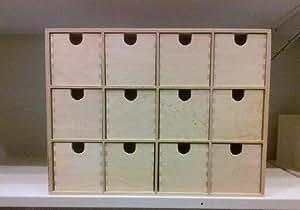Ikea mini cassettiera in legno con 12 cassetti contenitore ideale per piccoli oggetti o come - Ikea portagioie ...