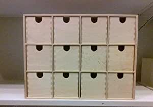 Ikea mini wooden chest of 12 drawers storage box jewellery box small bits - Boite rangement bois ikea ...