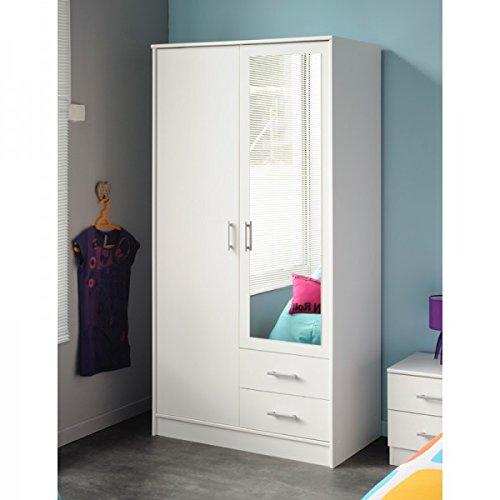 Hohe 2-tür Schrank (Kleiderschrank weiß 2 Türen + 2 Schubladen B 90 Schrank Drehtürenschrank Wäscheschrank Spiegelschrank Kinderzimmer Jugendzimmer Schlafzimmer)