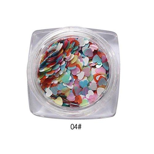 Hunpta 7g gemischte Herzen dünne Nail Art Glitter Pailletten Nagel TipGel polnischen Dekoration (D)