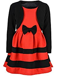 BEZLIT Mädchen-Kleid Kinder-Kleider Spitze Winter-Kleid Fest-Kleid Lang-Arm Kostüm 30003 Schwarz-Rot 98