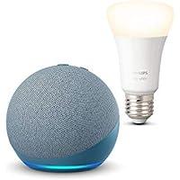 Nuevo Echo Dot (4.ª generación), Azul grisáceo + Philips Hue Bombilla Inteligente (E27), compatible con Alexa
