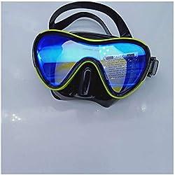 YFH Blue Magic Lens trempé Verre Masque de plongée Masque Miroir Grenouille Adulte Natation Lunettes de plongée (Couleur : Noir 2, Size : M)
