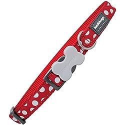 Red Dingo Collier Réglable pour Chien Rouge Pois Blanc 47 cm 20 mm