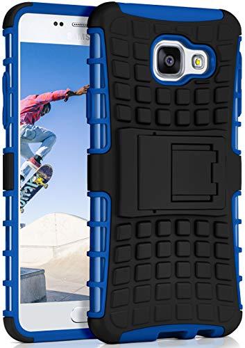 OneFlow® Outdoor Back-Cover aus Silikon + Kunststoff [Double-Layer] passend für Samsung Galaxy A3 (2016) | Extrem widerstandsfähiger 360° Schutz, Blau
