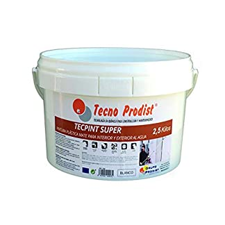 TECPINT SÚPER de Tecno Prodist – 2,5 Kg (BLANCO) Pintura para Exterior e Interior al Agua – Buena Calidad – Lavable – Fácil Aplicación