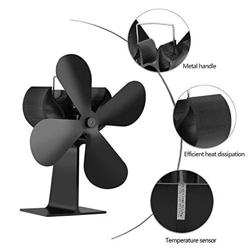Perfuw 4-Flügel-Ofenventilator, wärmebetriebener Holzbrenner, eloxiertes Aluminium, umweltfreundliche Wärmezirkulation für Holzbrenner, leiser Betrieb, Schwarz Stil 1