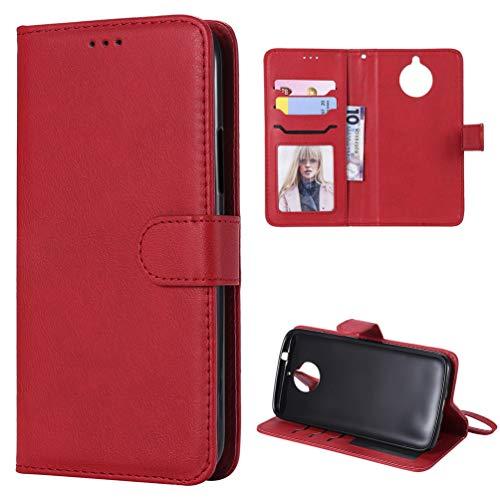 Edauto Motorola Moto G5 Plus Lederhülle Wallet Case Einfach PU Leder Handyhülle Flipcase Ständer Schutz Case Cover Bookstyle Schutzhülle Tasche Magnetverschluß Kartenfächer Handyschale Rot