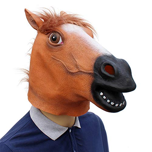 Pferdekopf Maske Reiter Halloween Latex Maske Tier Maske Halloween Kostüm Party Latex Tier Kopf Maske Pferdekopf für Pferde Kostüm von Iswell