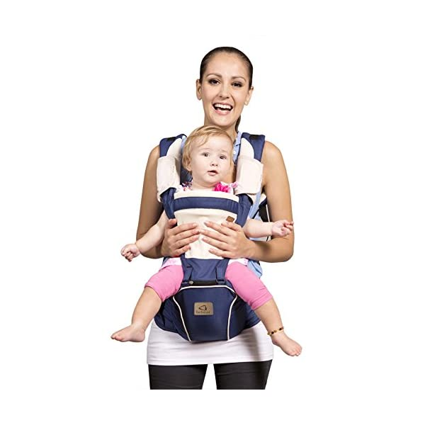 "Bebamour Hipseat Baby Carrier Backpack 5 in 1 Carry Ways Carrier Sling (Dark Blue) bebear PROMISED QUALITY AND FABRIC - The baby carrier is made with 100% polyester with breathable cotton make baby feel comfortable and cozy. (If you have any questions in using baby carrier, pls don't hesitate to contact us. Besides, you can see the user vedio through Youtube by searching ""Bebamour Baby Carrier Hipseat"".) ERGONOMIC DESIGNED - Although it is a baby carrier hipseat, it also is designed according to baby's growth. Suit for baby who is 3-36 months and whose capacity is between 0-33lbs (14.9KG). LIGHTWEIGHT WITH 5 CARRY WAYS - Size of the baby carrier is L11.8""*H9.8""*W7.1""(L20*H25*W18CM); Weight is about 1.2lbs (0.58KG); You can use it by 5 carry ways, details in paper instruction manual; 1"