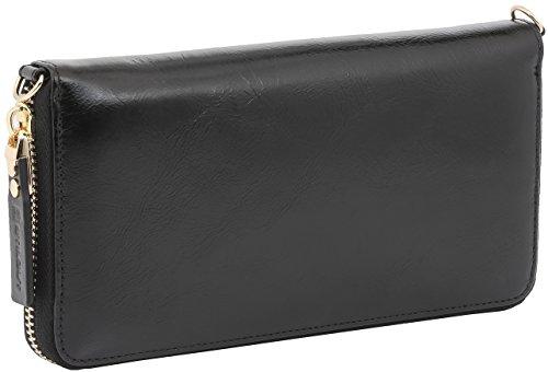 StilGut Smart Wallet en cuir - Pochette, sac, housse portable et sac à bandoulière, Rouge Nappa Noir Vintage