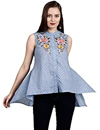 Label RITU KUMAR Women's Regular Fit Top (STPCCH35N17147935-GREY-S)