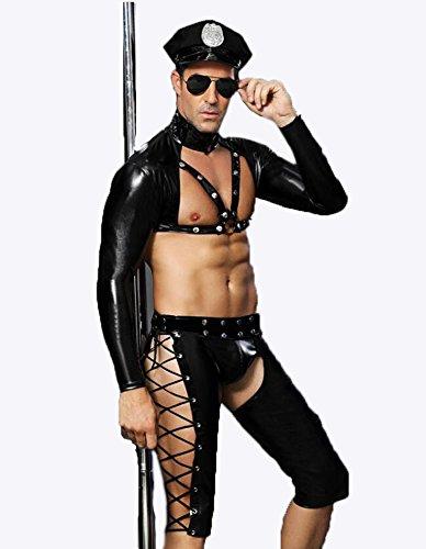 (Sexy Dessous Für Männer Polizei Outfit,Herren Homosexuell Bar Nachtclub Performance-Kleidung Schwarze Wäsche Uniform Versuchung)