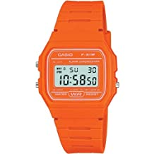 Casio F-91WC-4A2EF: reloj digital, correa de goma, color: naranja