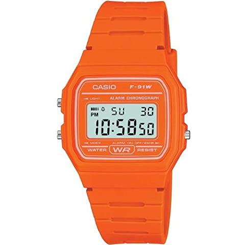 Casio Men's F-91WC-4A2EF Quartz Watch with Digital Display and Resin Strap Orange