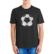 ZipZappa Pelota de Fútbol Lentejuelas Camiseta para Niño Camiseta de Manga Corta 4-14 Años