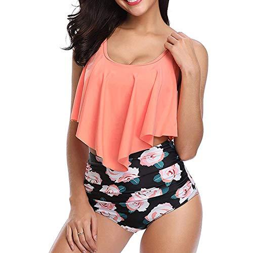 Bademode Damen Badeanzug Sexy Bikini High Waist Rueckenfrei Bademode Orange Runden-Ausschnitt Rüschen Zweiteilige Bademode S - Für Frauen Bikini-badeanzug Sexy