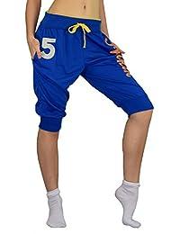 S&LU Damen Sport Jogging Freizeit 3/4 Hose mit coolen Prints in verschiedenen Größen