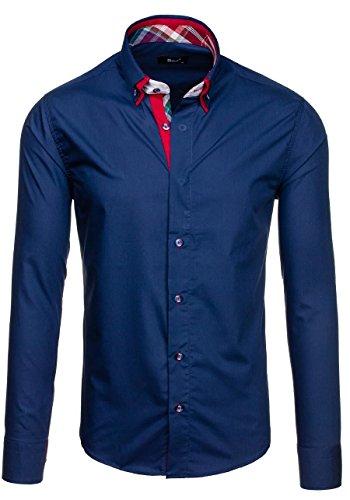 BOLF Langarm Herrenhemd Hemd Men Herren Figurbetont Freizeit Classic 6895 Dunkelblau