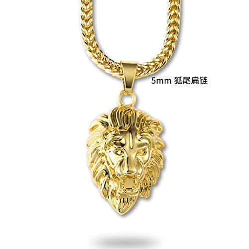Herrenhalskette,Hip-Hop Lion's Head Halskette Anhänger Original Personalisierte Halskette Wild Zubehör Unisex Mode Schmuck, Goldene Flache 5-Kette