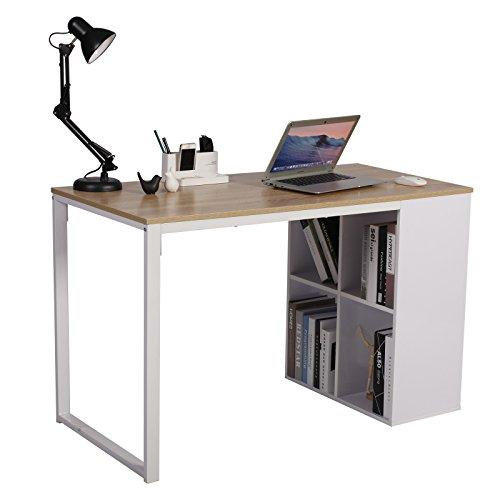WOLTU® Schreibtisch TSG26hei Computertisch Bürotisch Arbeitstisch PC Laptop Tisch, in Melamin, mit 4 Ablageflächen, Gestell aus Stahl, 120x60x75cm(BxTxH), Holz, Eiche -