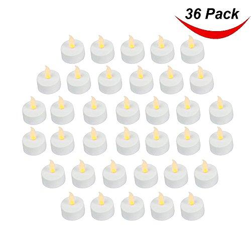 Candele tipo lumino a led, con finta fiamma a effetto realistico; 3,5cm di diametro x 4,2cm di altezza; batterie incluse; coloregiallo; in confezione da 36