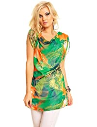 Elegant floral cocktail top MINI DRESS WITH BELT cruise holiday multicolour