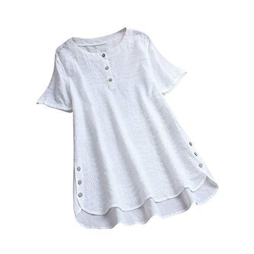 Lazzboy Frauen-Weinlese-beiläufiges Höhlen Heraus Oansatz-Kurzschluss-hülsen-knopf-spitzenblusen-t-Shirt Aus Damen Bohemian Stickerei Floral Tunika Shirt Bluse Flowy(Weiß,2XL)