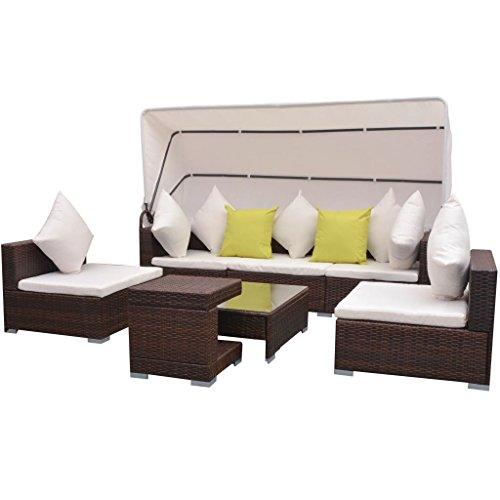 Festnight 23-tlg. Lounge Set Loungemöbel Loungeset Loungegruppe mit Sonnendach Poly Rattan Braun