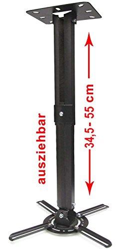 Monte proiettore TV Soffitto Parete staffa rotante a 360 ° di inclinazione fino a 180 °, estensibili 34,5 - 55 cm, VESA fino a 200 x 200 mm (nero)