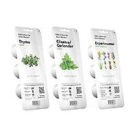 Kit composto da 3 confezioni di capsule miste per Smart Garden 3 e 9 della marca Click & Grow. Ricariche di timo, coriandolo e sperimentale, facili da coltivare in giardino d'interno.