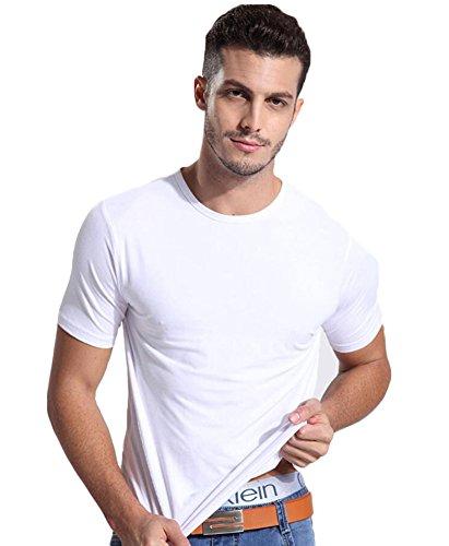 Kuson Einfarbige T-Shirts mit Rundhalsausschnitt Kurzarmshirt Casual Basic O-Neck Top Weiß