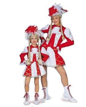 r-Kostüm Tanzmariechen rot-weiß-gold Gr. 140 ()