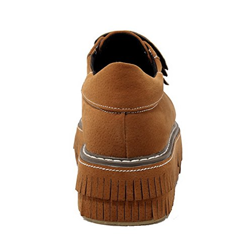 AgooLar Femme à Talon Correct Dépolissement Couleur Unie Velcro Rond Chaussures Légeres Jaune